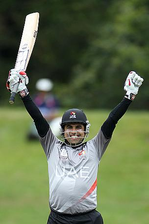 Shaiman Anwar celebrates his century against Nepal