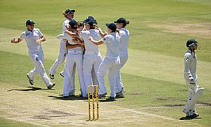England Women celebrate a wicket during their Ashes Test win in Perth