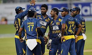 Sri Lanka celebrate a wicket in T20 cricket