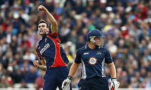 Reece Topley punches the air