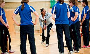 Ebony Rainford-Brent coaching the Millfield School girl's team
