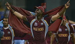 Darren Sammy celebrates winning the ICC WT20