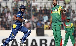 Kumar Sangakkara bats against Bangladesh
