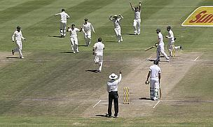 Australia celebrate the wicket of AB de Villiers