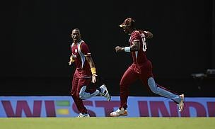 West Indies players celebrate