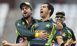 Umar Gul celebrates