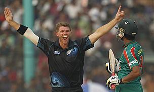 Corey Anderson celebrates a wicket