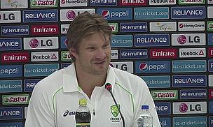 Shane Watson talks to the media in Bangladesh