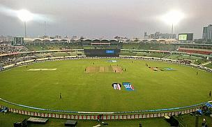 The sun sets in Mirpur as West Indies and Sri Lanka warm-up