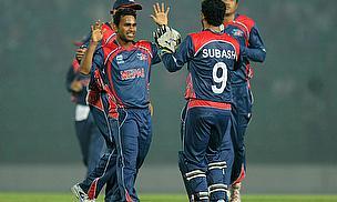Nepal celebrate a wicket