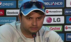 Suresh Raina talks to the media following India's win over Pakistan