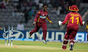 Deandra Dottin celebrates one of her four wickets