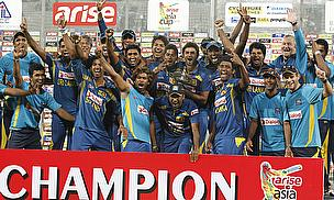 Sri Lanka celebrate winning the Asia Cup