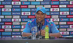 MS Dhoni addresses the media following India's eight-wicket win over Bangladesh