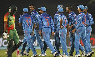 India celebrate a wicket against Bangladesh