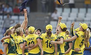 Australia celebrate winning the ICC Women's World Twenty20
