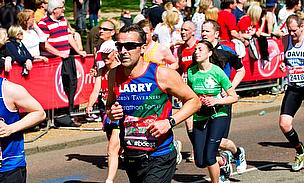 Essex head coach Paul Grayson with the finishing line of the 2014 London Marathon in sight