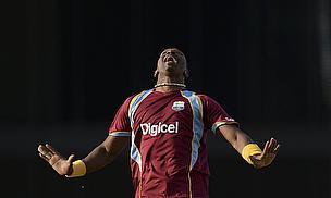 Dwayne Bravo celebrates a wicket