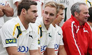 Stuart Broad (second left) is aiming to play Championship matches for Nottinghamshire before returning to England duty