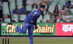 Harbhajan Singh bowls