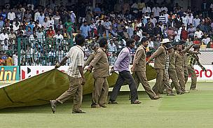 The covers were on and off several times before the match was finally concluded