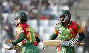 Bangladesh players run between the wickets