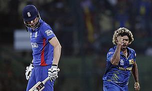 Lasith Malinga celebrates the wicket of Alex Hales