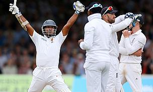 Joy unconfined for Kumar Sangakkara (left) as he celebrates his Test century at Lord's