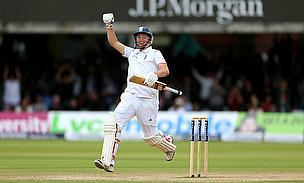 Gary Ballance celebrates his maiden Test century
