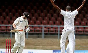 Shannon Gabriel celebrates a wicket as the West Indies rocked New Zealand's batting line-up