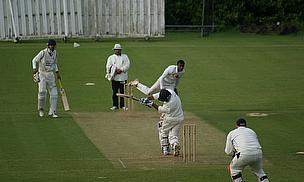 Harrow St Mary's fast bowler Curtley Louw in action