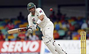 Misbah-ul-Haq plays a shot