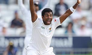 Dhammika Prasad appeals for a wicket