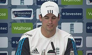 Alastair Cook talks to the media at Lord's