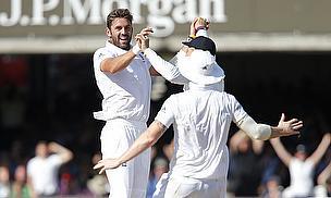 Liam Plunkett celebrates a wicket
