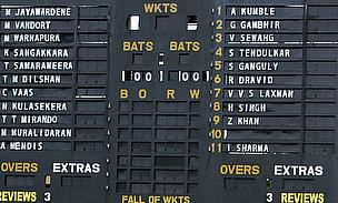 The scoreboard at the SSC ground