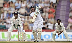 Ian Bell hits out during his century against India at the Ageas Bowl