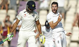 James Anderson celebrates the wicket of Ravindra Jadeja