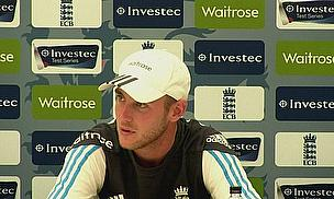 Stuart Broad talks to the media at The Ageas Bowl