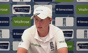 Joe Root talks to the press after scoring 56 in 41 balls