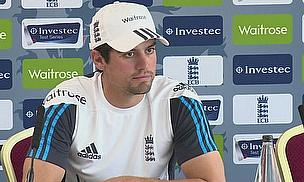 Alastair Cook during his press conference at Old Trafford