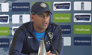 MS Dhoni talks to the press at Old Trafford ahead of the fourth Test