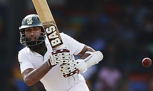 Hashim Amla plays a shot in Sri Lanka