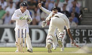 Bhuvneshwar Kumar is run out as India head towards a crushing defeat