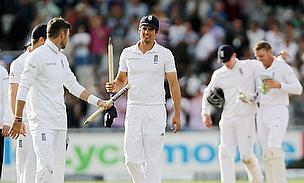 England celerbate a wicket