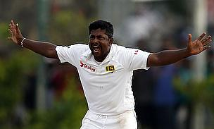 Rangana Herath appeals for a wicket during his superb spell on the final day in Galle