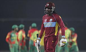 Chris Gayle during the ICC T20 2014 game against Bangladesh