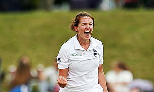 Kate Cross celebrates the wicket of Smriti Mandhana