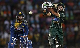 Fawad Alam hits out during the second One-Day International against Sri Lanka
