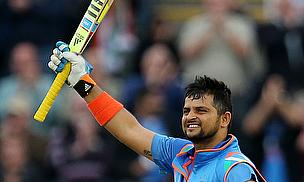 Suresh Raina celebrates his century